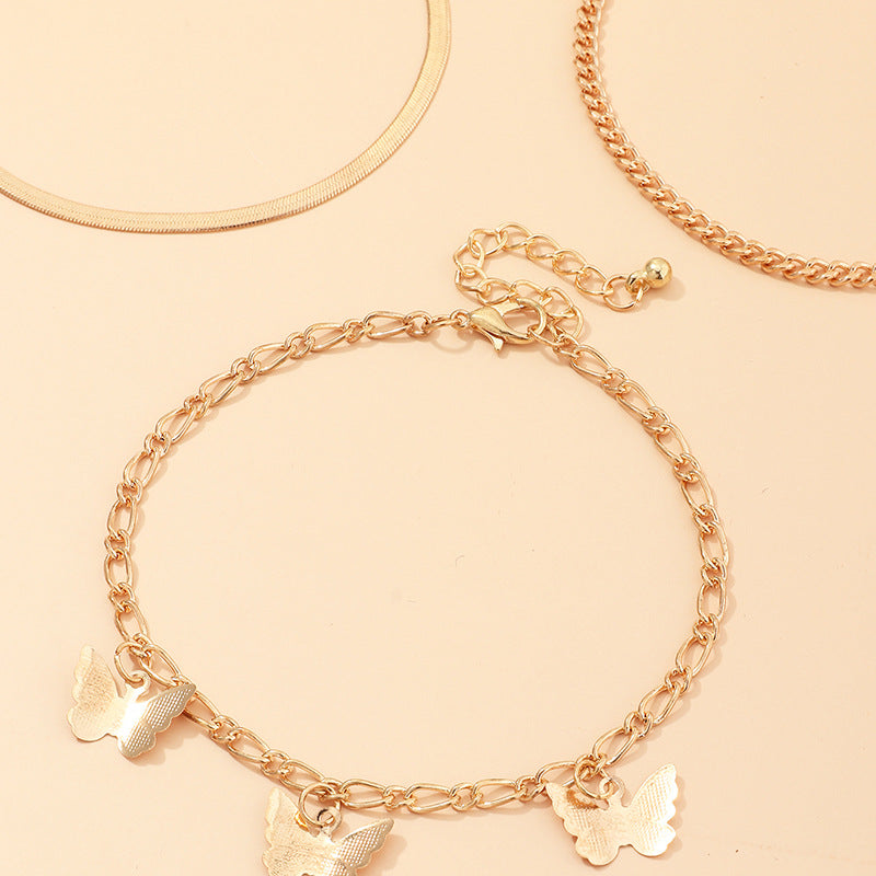 30 Set's) Butterfly Alloy Chain Anklets-10 TWENTY 2 RETAIL©