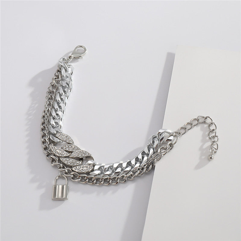 30 Set's) Three-layer Lock Pendant Metal Bracelet