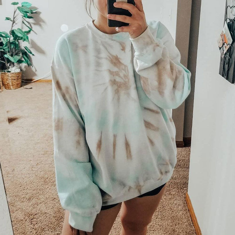 Casual Tie-dye Long Sleeve Loose Sweatshirt