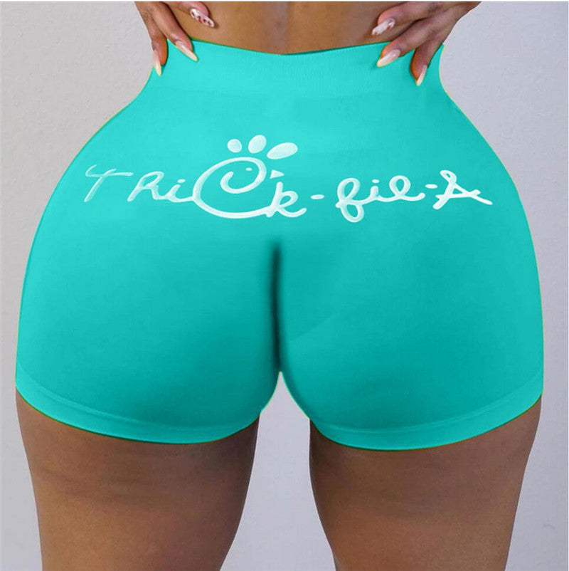 chick-Fil-A Wholesale S-XXL Women Sexy Solid Color Letter Print Yoga Shorts