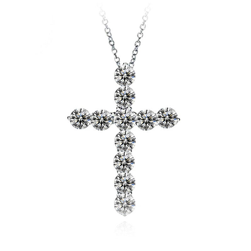Wholesale Fashion Rhinestone Decor Cross Pendant Necklace 10 twenty 2