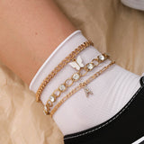 30 Set's)Butterfly Pendant Rhinestone Decor Anklets