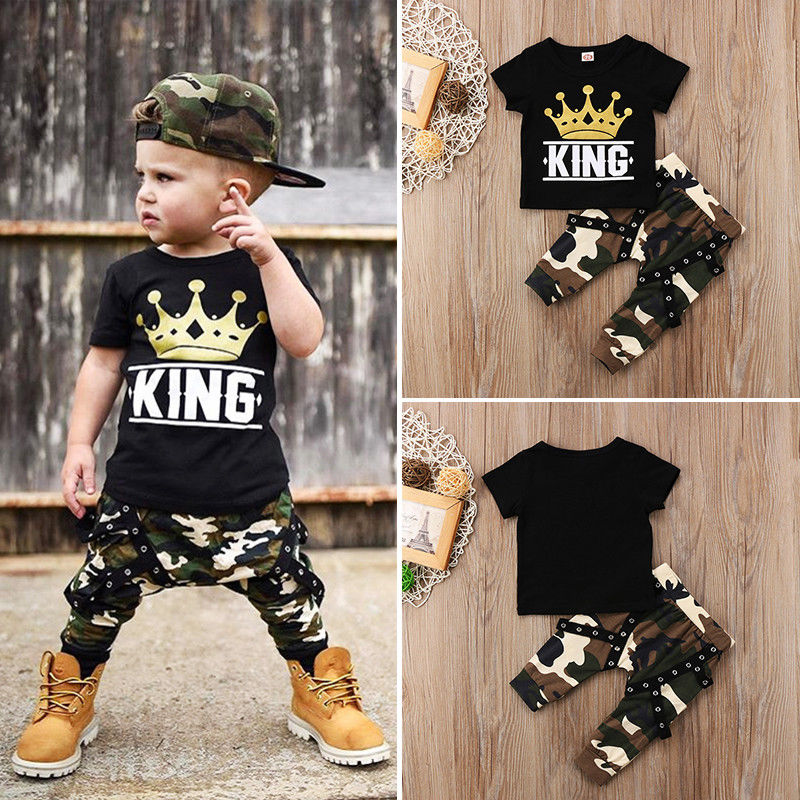 30 Set's) Wholesale Fashion Boy Crown Print Top And Camouflage Trousers Set