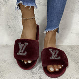 30 Set's) Solid Color Rhinestone Letter Pattern Plush Slippers-10 TWENTY 2 RETAIL©