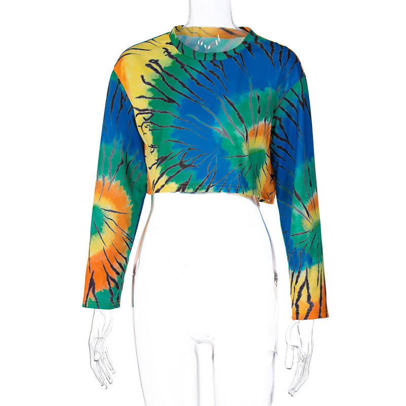 Wholesale S-L Women Fashion Tie Dye Long Sleeve Crop Tops  10 twenty 2 vendor