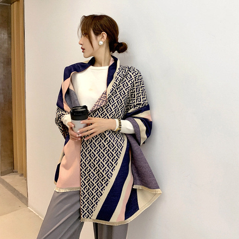Wholesale Fashion Letter Color Matching Double-sided Warm Shawl fendi 10 twenty 2