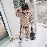 30 SEt's) Wholesale Kids Letter Printed Striped Rib-knit Striped Zipper Tops And Pants Set
