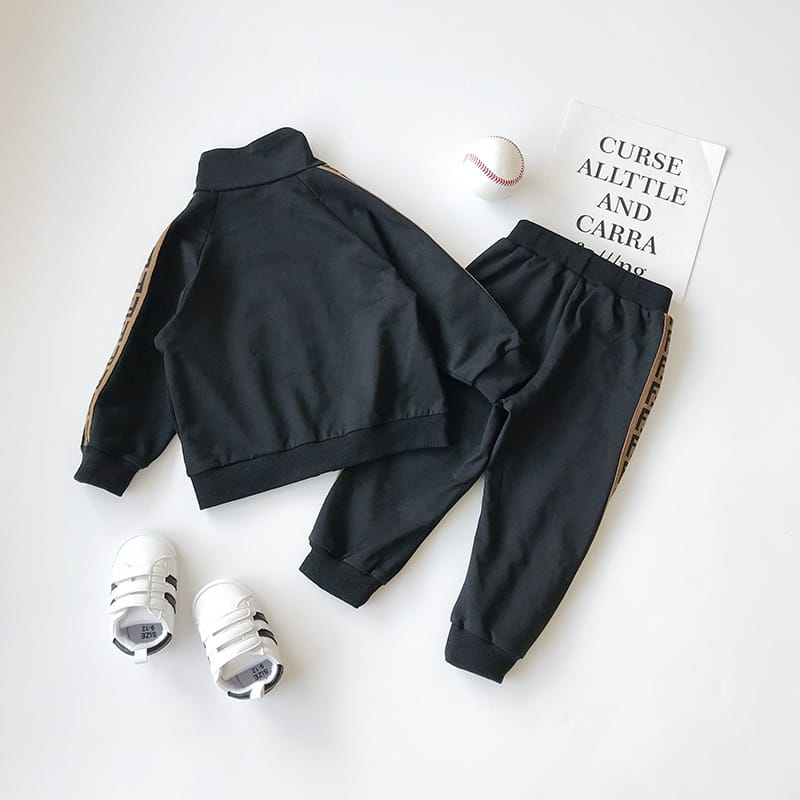 30 Set's) Wholesale Kids Lapel Zipper Design Letter Printed Tops And Casual Pants Set