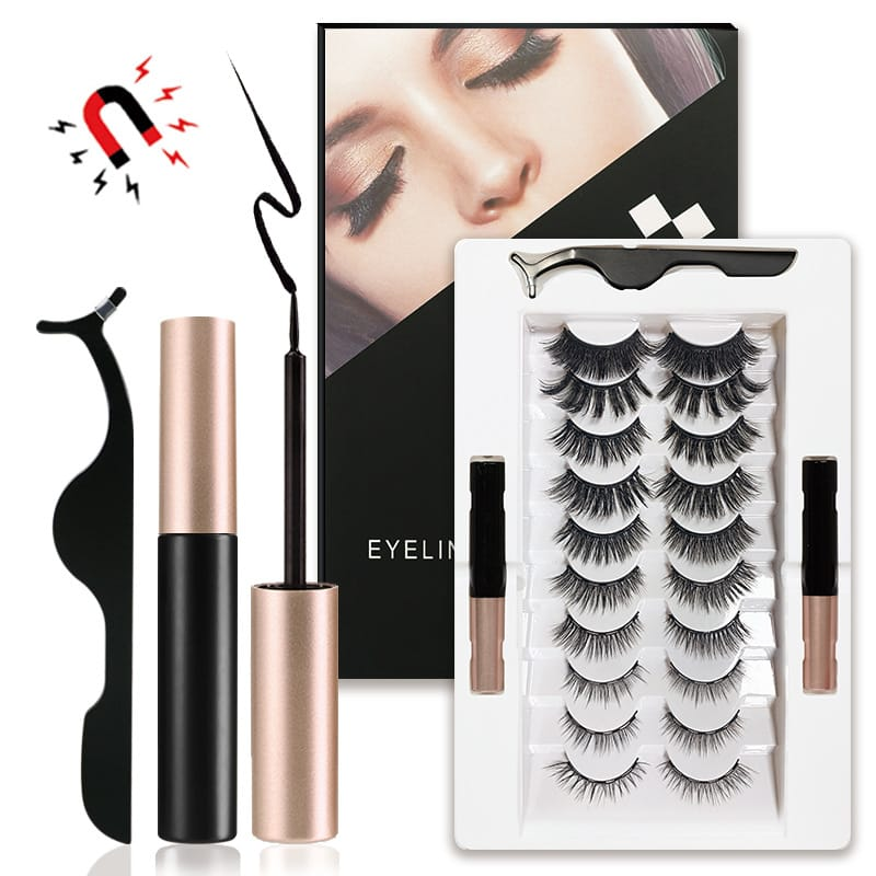 30 Set's) 10 Pairs Mixed Magnetic False Eyelashes And Liquid Eyeliner Set-10 TWENTY 2 RETAIL©