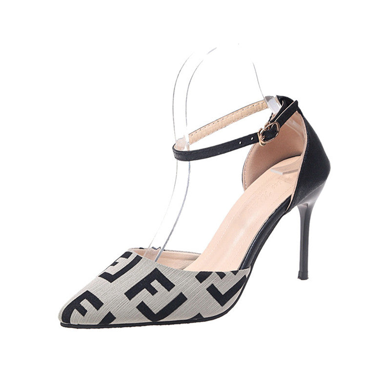 30 Set's) Women Fashion Pointed Toe Letter Pattern High Heels