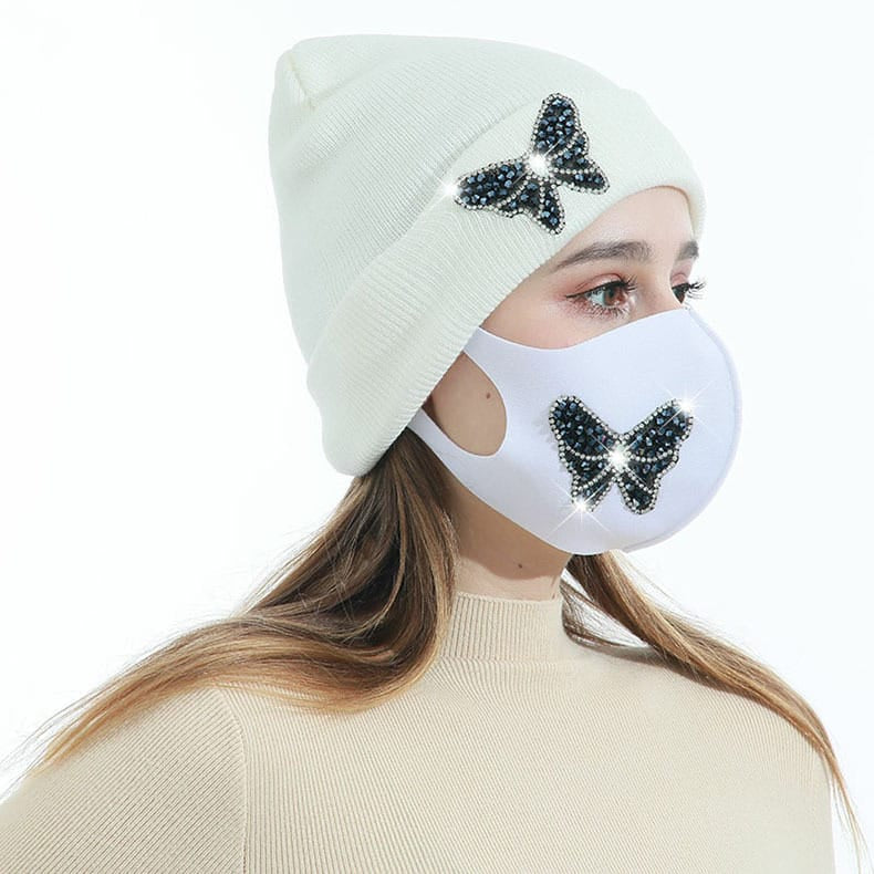 Wholesale 2pcs/set Women Simple Knitted Hat And Face Mask Set 10 twenty 2
