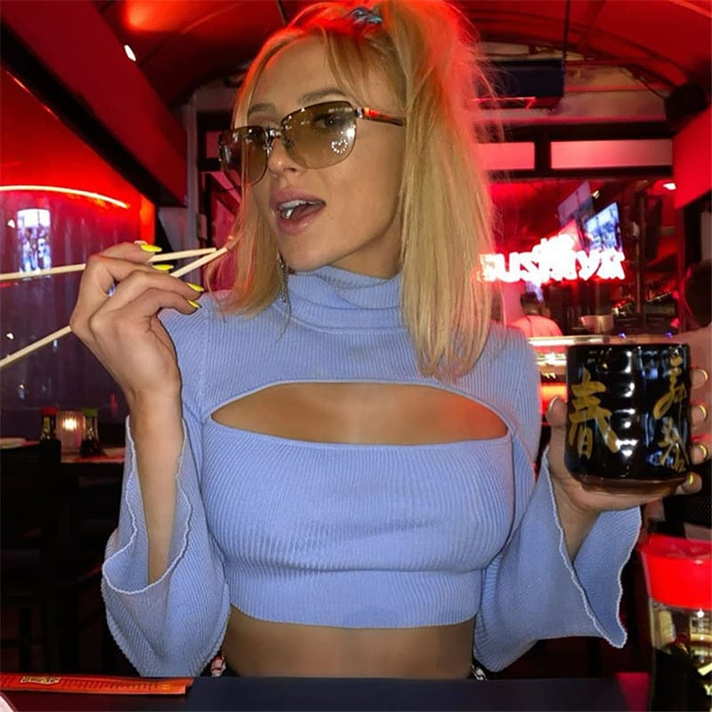 Wholesale S-L Women Sexy Cut Out Solid Color Turtle Neck Rib-knit Top blue 10 twenty 2 vendor usa