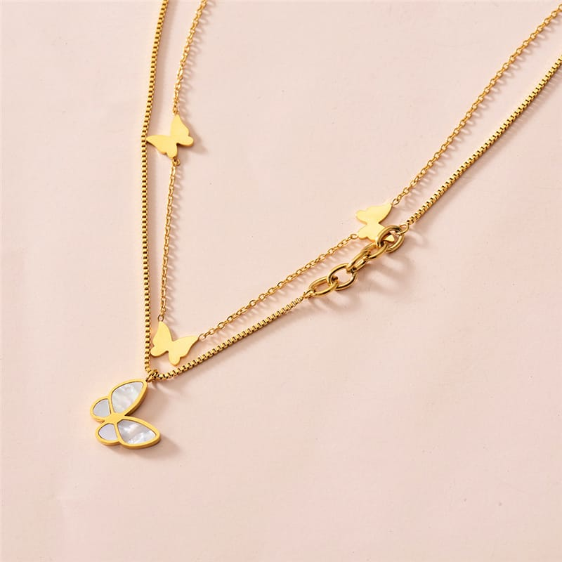 Wholesale Women Minimalist Butterfly Design Multilayer Chain 10 twenty 2