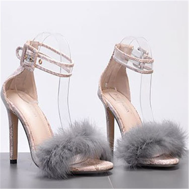 30 Set's) Plus Size Snakeskin Pattern Ankle Strap Plush Stilettos