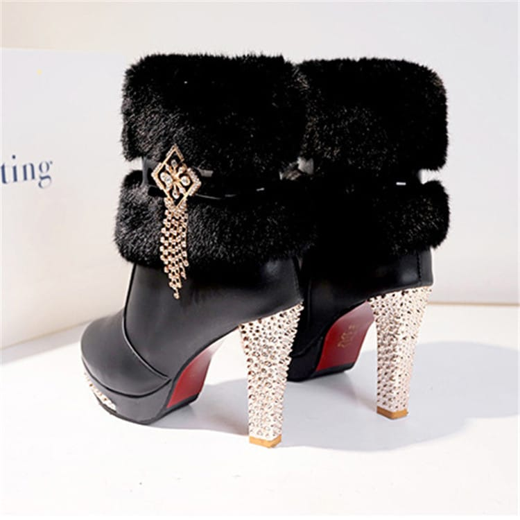 Wholesale Size:4.5-9 Women Fashion Rhinestone Tassel Plush Platform High Heel Boots 10 Twenty 2.