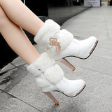 30 Set's) Women Fashion Rhinestone Tassel Plush Platform High Heel Boots