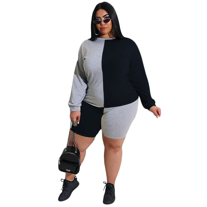 30 Set's) Plus Size Contrast Color Patchwork Top And Shorts Two-10 TWENTY 2 RETAIL©