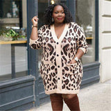 30 Set's) Leopard Printed Single Breasted Knit Dress