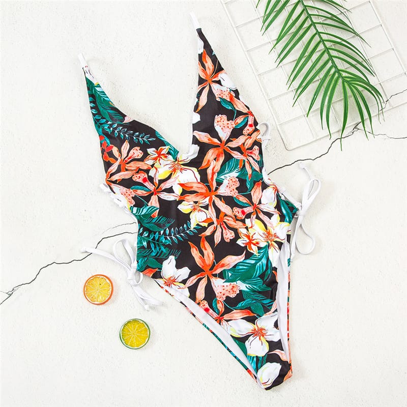 30 Set's) Deep V Lace-Up Graphic Printed Swimsuit-10 TWENTY 2 RETAIL©