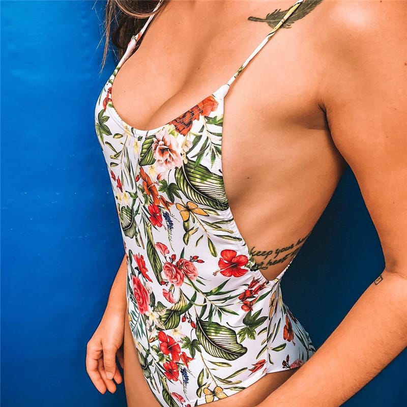 30 Set's) Sexy Strap Backless Floral Printed Swimsuit