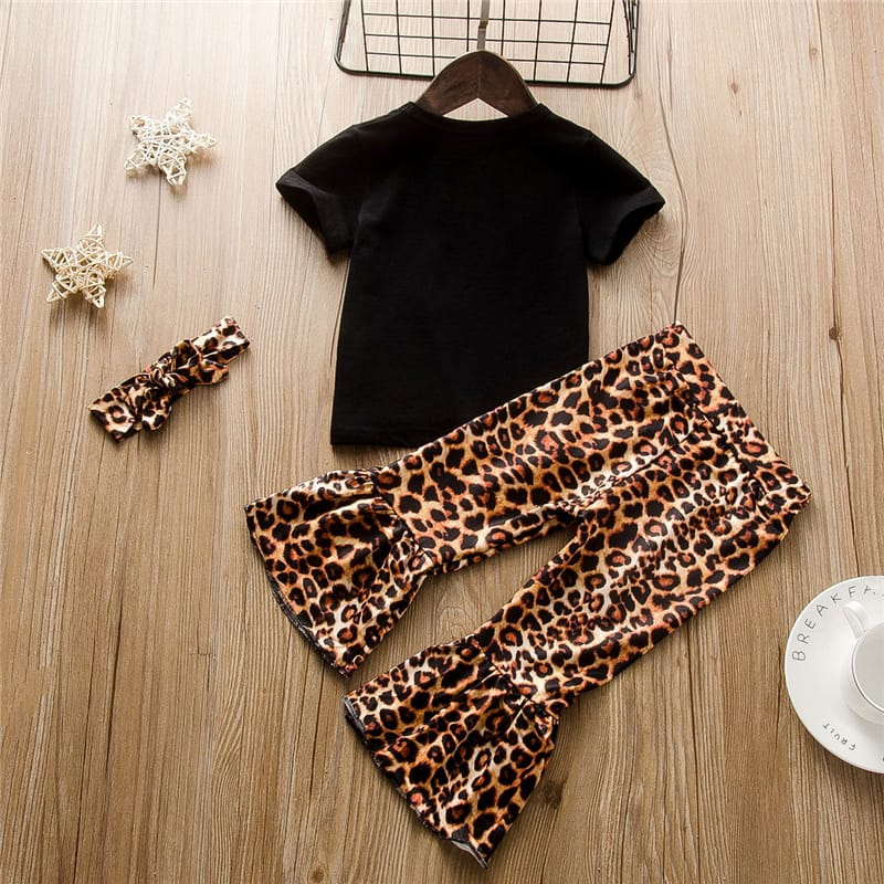 30 Set's)Wholesale Girls Short-sleeves Letter Pattern T-shirt And Leopard Pants Set