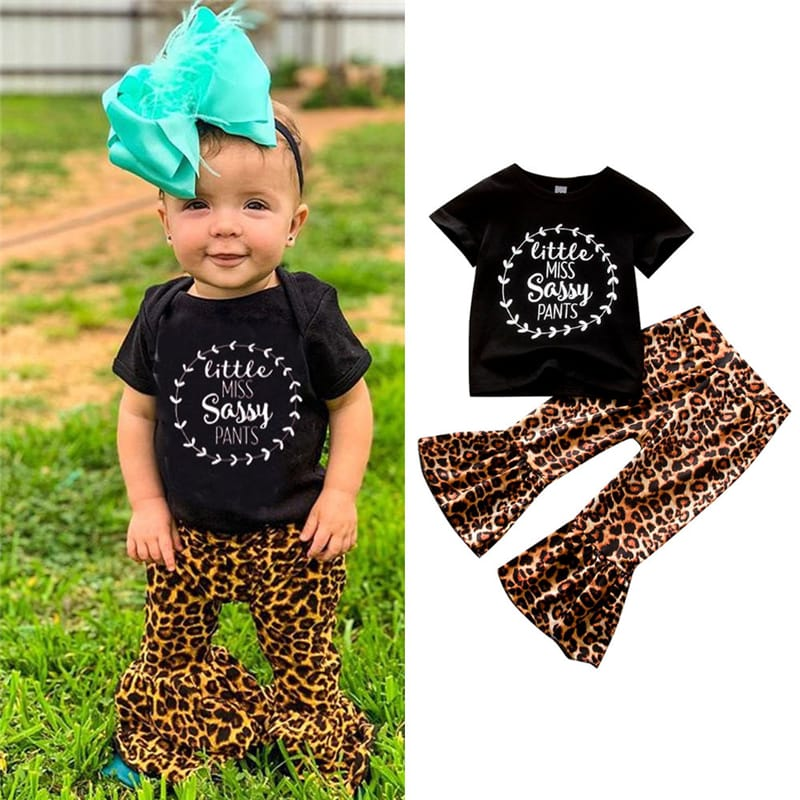 Wholesale Girls Short-sleeves Letter Pattern T-shirt And Leopard Pants Set
