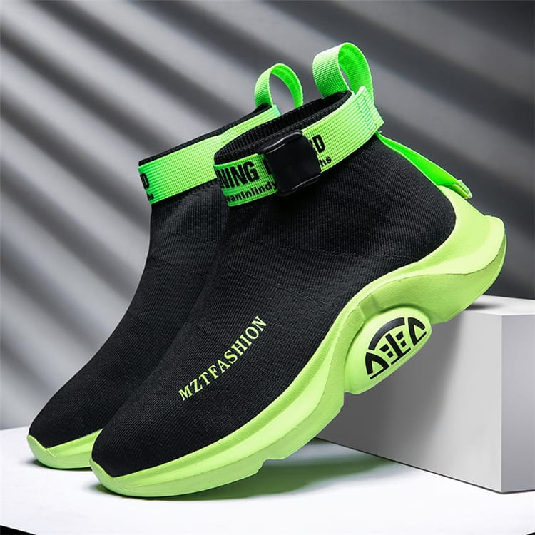30 Set's) Contrast Neon Color Letter Printed High Top Sneakers-10 TWENTY 2 RETAIL©