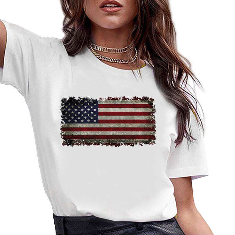 Make America Great Again USA Flag Printing Round Neck T-shirt wholesale vendors