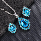 30 Set's) Water Drop Shaped Decorative Necklace And Earrings Set
