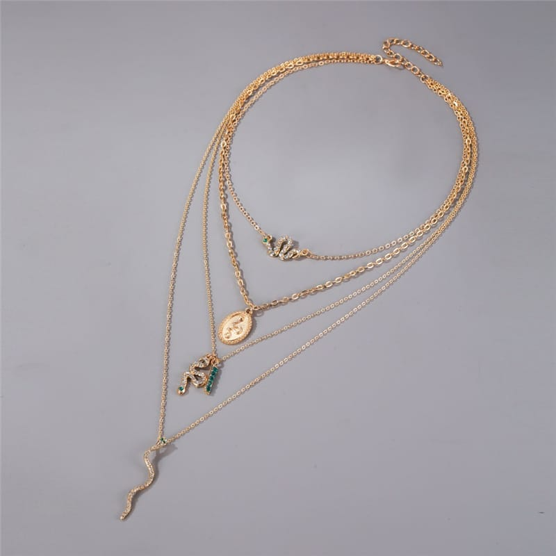 Wholesale Women Unique Rhinestone Decorative Multilayer Necklace 10 twenty 2