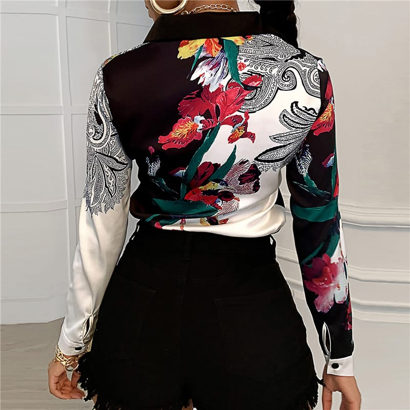 30 Set's) Lapel Single Breasted Floral Printed Blouse