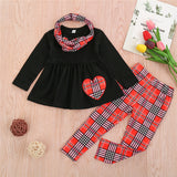 30 Set's) Wholesale Girls Long-sleeves Heart Pattern Tops And Plaid Pants With Headband
