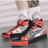 30 Set's) Casual Color Blocking Patchwork Lace-up High Top Sneakers
