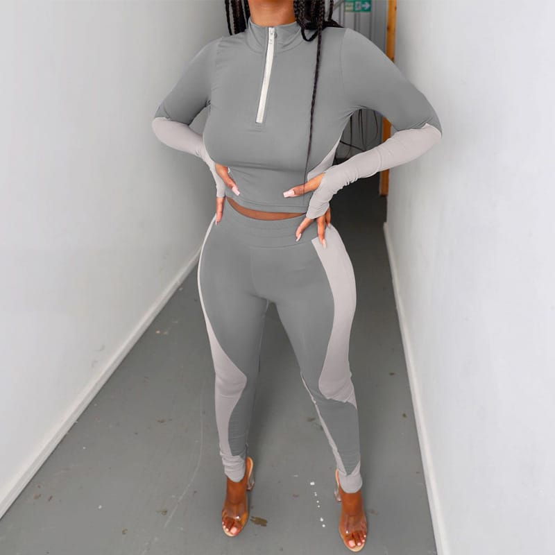 30 Set's) Gym Set Color Blocking Turtle Neck Top And Pants Two Pieces