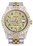 Iced Out Rolex Datejust 36 MM | Two Tone | 10 Carats of Diamonds | Full Diamond Green Arabic Diamond Dial