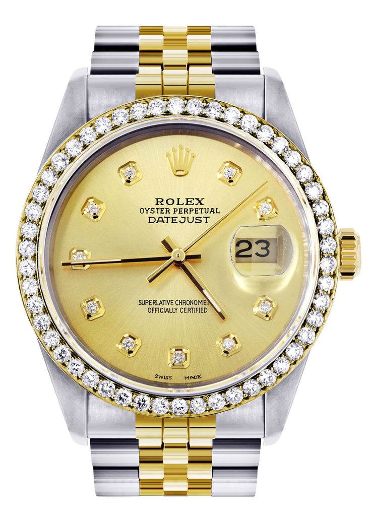 Pre-Owned Gold Rolex Datejust Watch 16233 for Men | 36Mm | Gold Dial | Jubilee Band