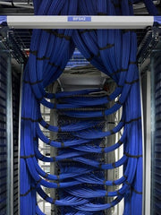 Blue wires neatly tied into a rack