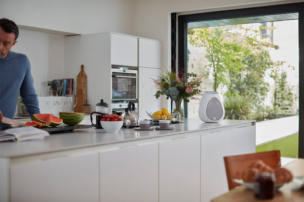 Wide shot of Linn Series 3 speaker in a kitchen with a person cutting watermelon