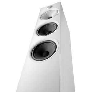Close up of white 603 floorstanding speaker