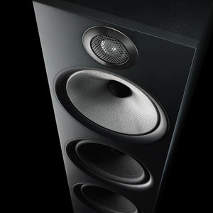 Close up view of black 603 floorstanding speaker