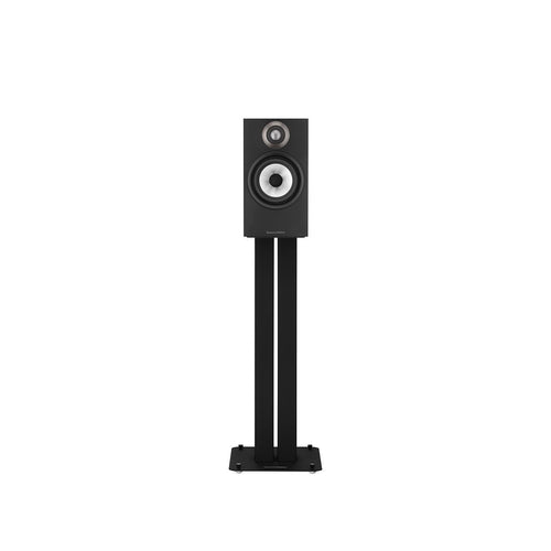 Black 607 bookshelf speaker on black stand