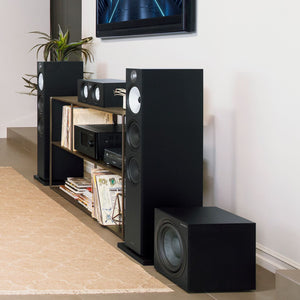 Black HTM6 center channel speaker next to black floorstanding 603