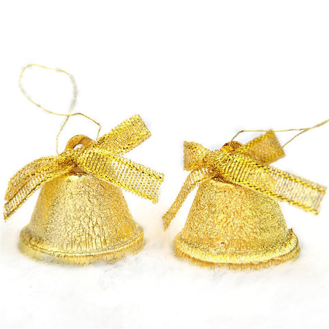 2018 New 8pc Colored Gold Bells Pendants Hanging Christmas Tree Ornaments Christmas Decorations DIY Crafts Accessories L4