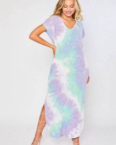 Mythical TiE Dye Maxi  Dress With Pockets