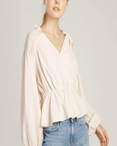 Oyster Wrap Style Pleated Top