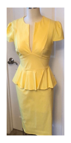 Lemon Deep Plunge Peplum Midi Dress