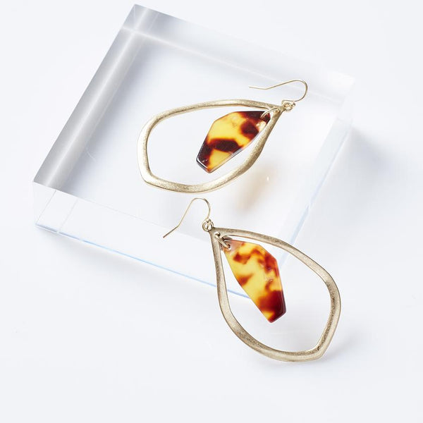 Tortoise Tear Drop Earrings