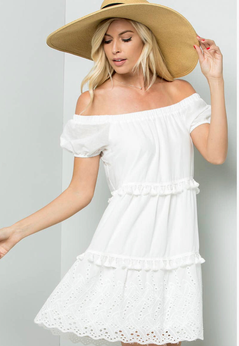 Change Your Mind Off White Eyelet Dress
