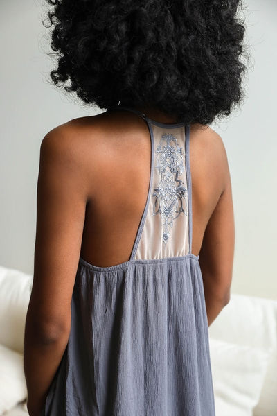 Ruffled Trim Tattoo Mesh Back Slip Dress