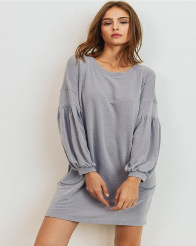 French Terry Bubble Sleeve Shift Dress